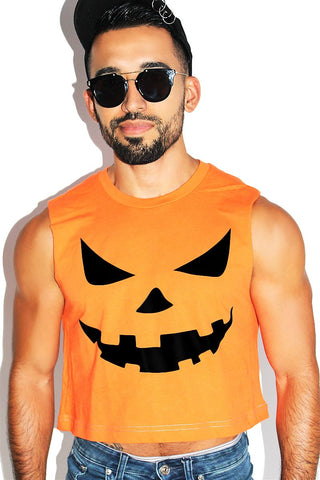 Pumpkin Face Crop Tank- Orange