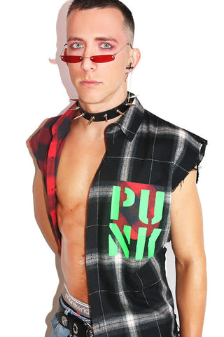 Young Punk Sleeveless Plaid Shirt- Red