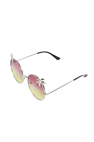 Round Palm Tree Sunglasses-Purple