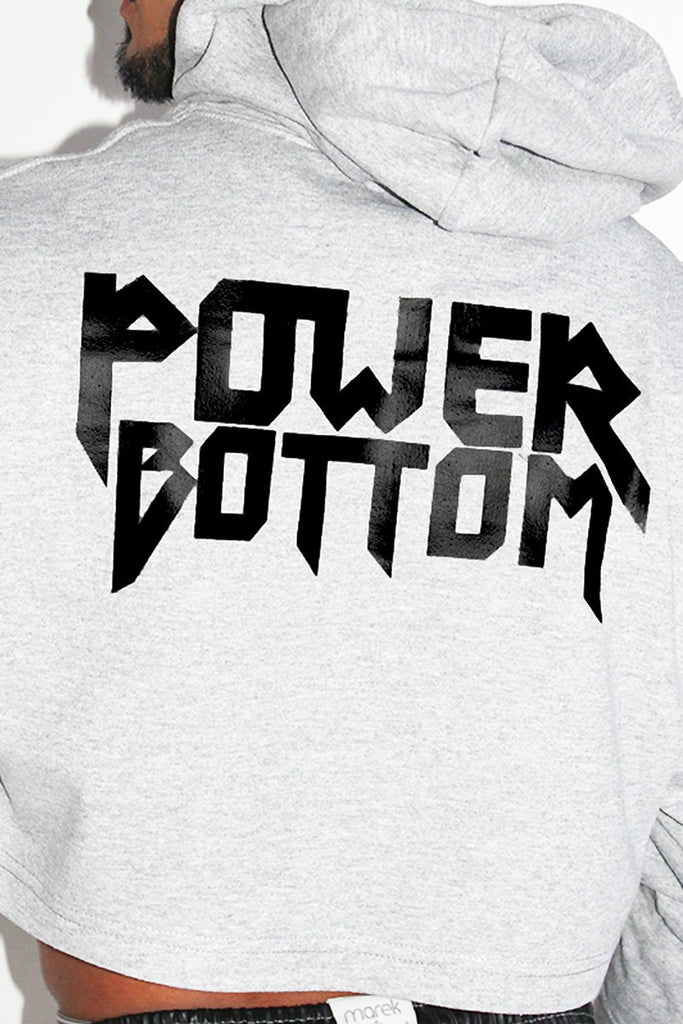 Power Bottom Crop Hoodie-Grey