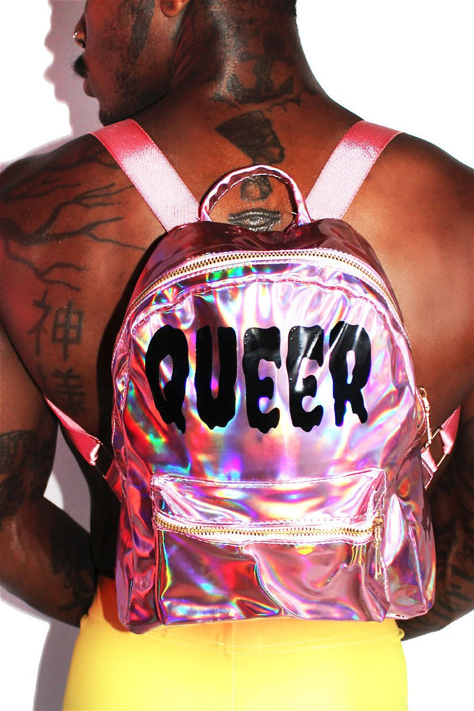Queer Holographic Backpack-Pink