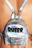 Queer Holographic Mini Backpack-Silver