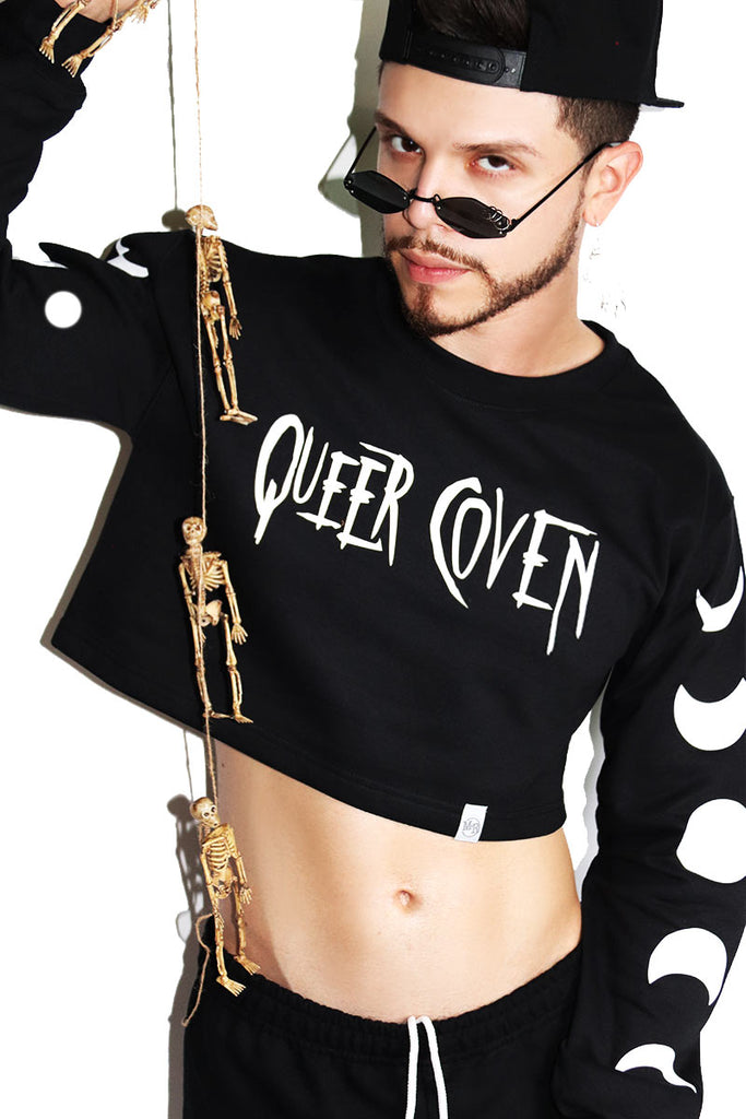 Queer Coven Long Sleeve Crop Sweatshirt-Black