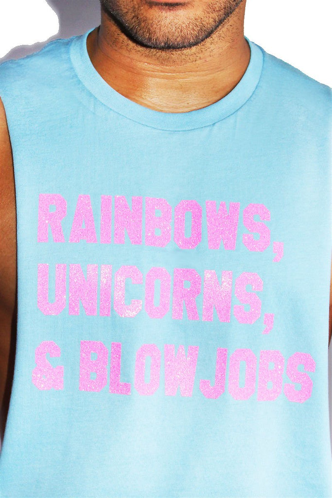 Rainbows, Unicorns, and BJs Shredder-Sky Blue