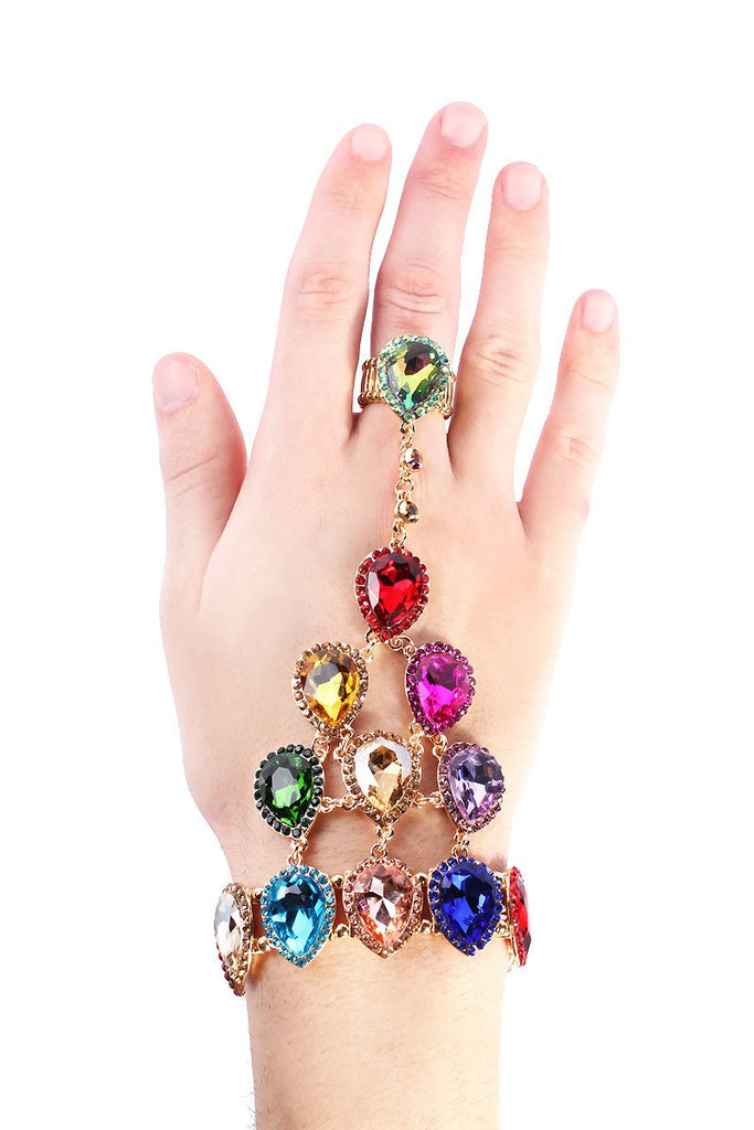 Rainbow Gem Stones Gauntlet-Multi