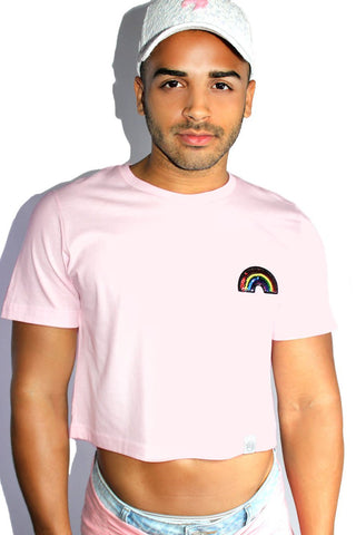 Rainbow Sequin Crop Tee-Pink