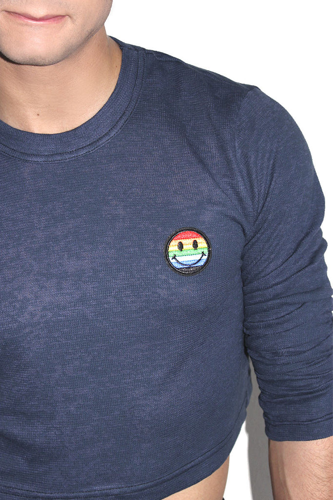 Gay Smiles Patch Crop Thermal- Blue