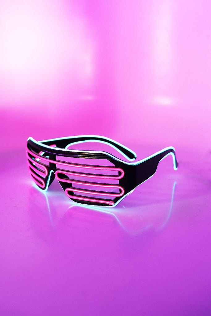 LED Shutter Shades Sunglasses- Pink