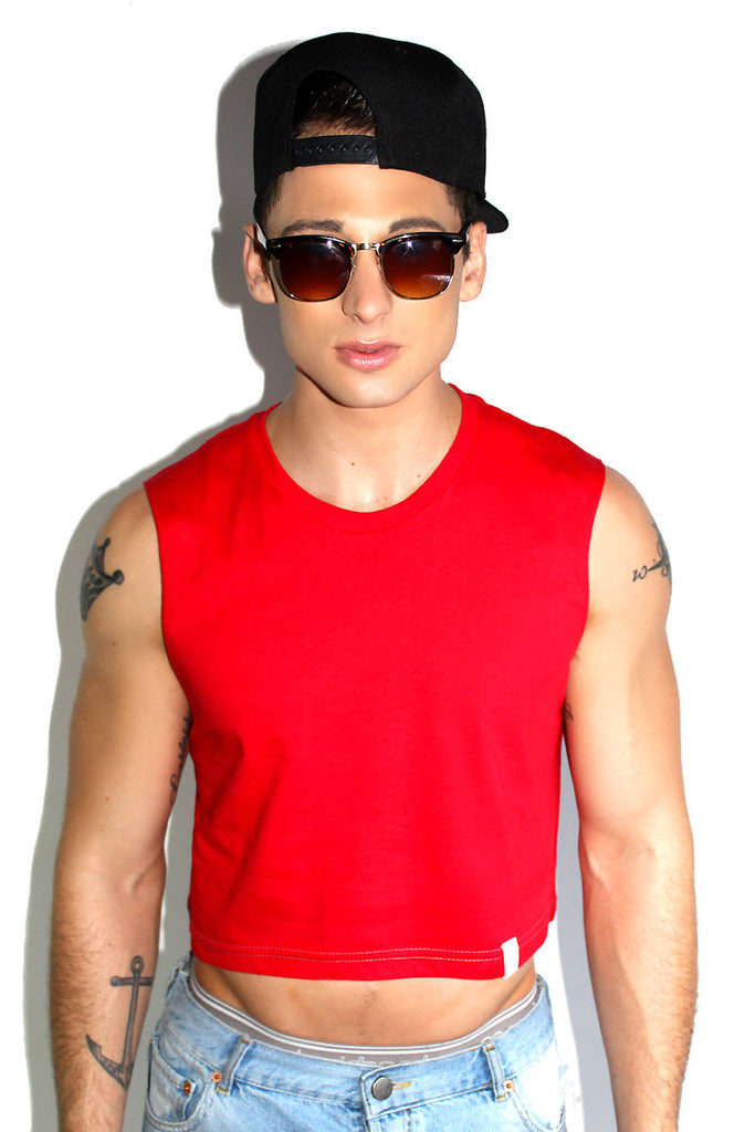 Core Crop Tank-Red