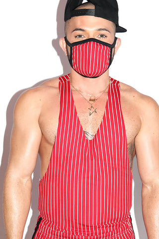 Cupid's Arrow Stripe String Tank- Red