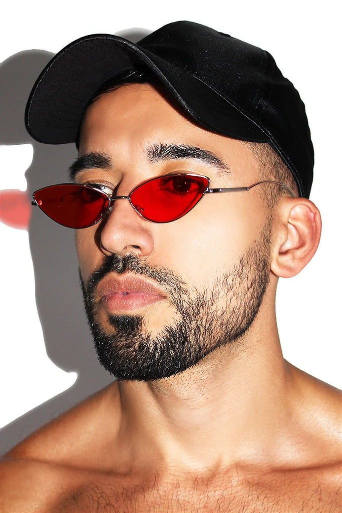 Almond Shape Wire Sunglasses-Red