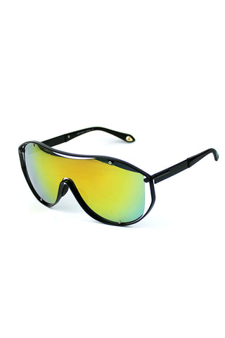 Open Frame Shield Sunglasses-Yellow