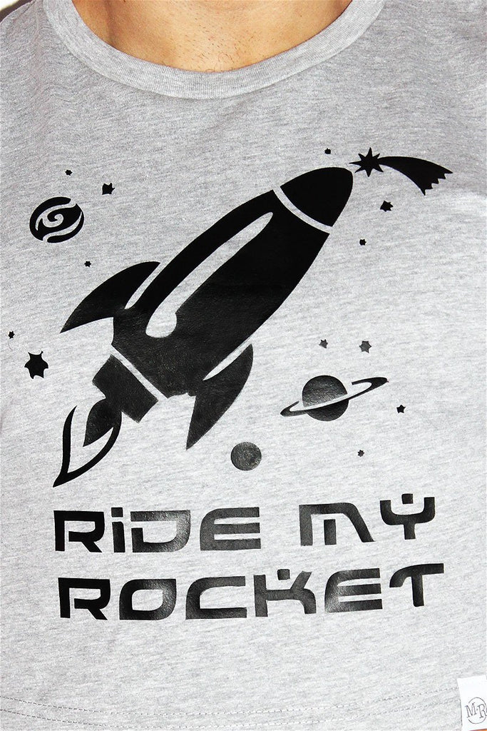 Ride My Rocket Long Sleeve Crop Tee-Grey