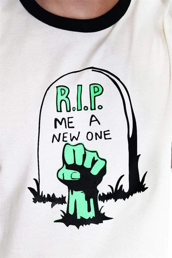 RIP Me A New One Crop Ringer Tee-Cream