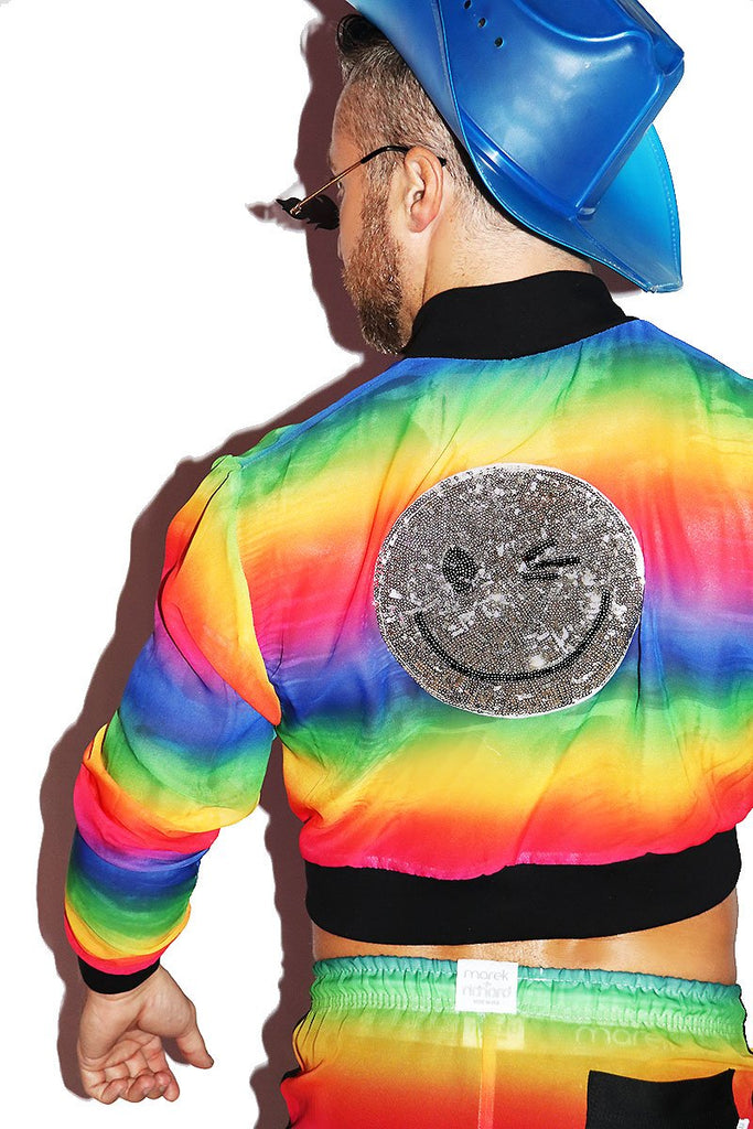 Smile Rainbow Mesh Crop Bomber Jacket- Multi