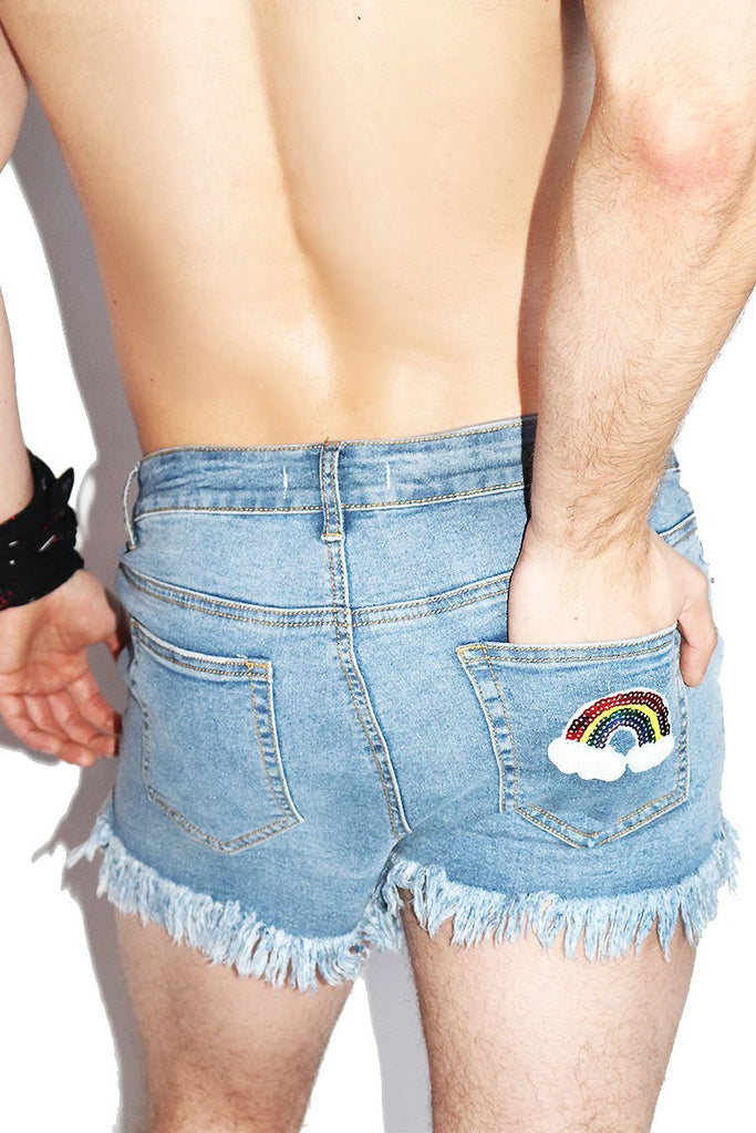 Rainbow Frayed Denim Shorts-Blue