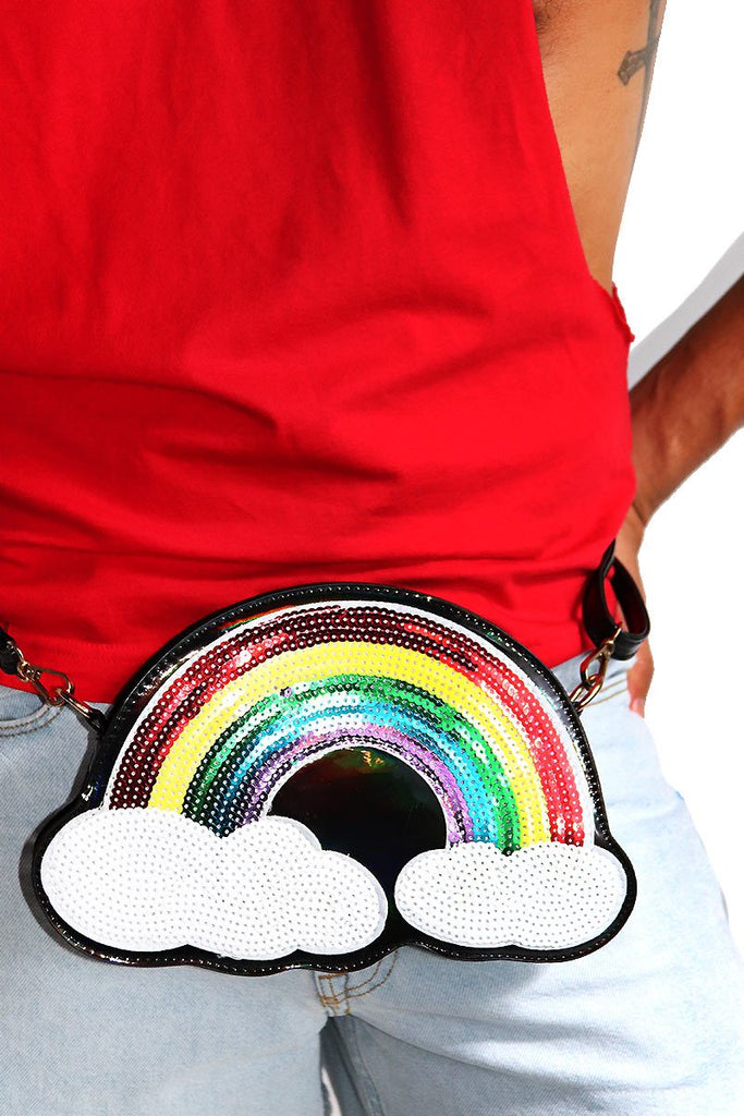 Sequin Rainbow Fanny Pack-Black