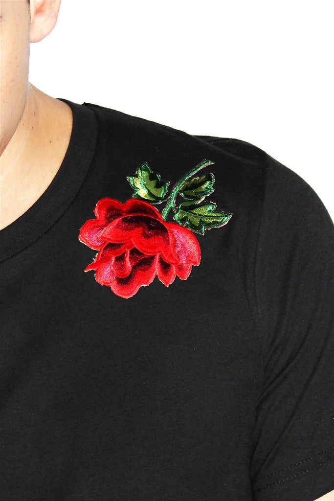 Symetric Roses Crop Tee- Black