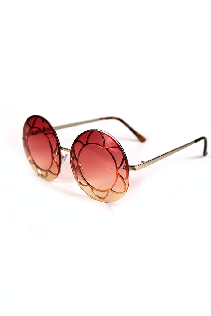 Round Flower Teashade Sunglasses- Rose