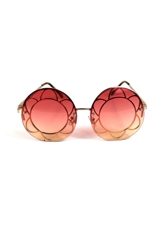 Round Flower Teashade Sunglasses-Rose