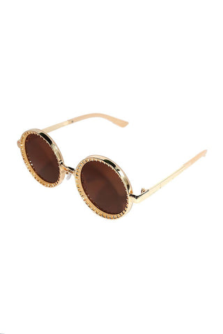 Round Spiked Sunglasses-Brown