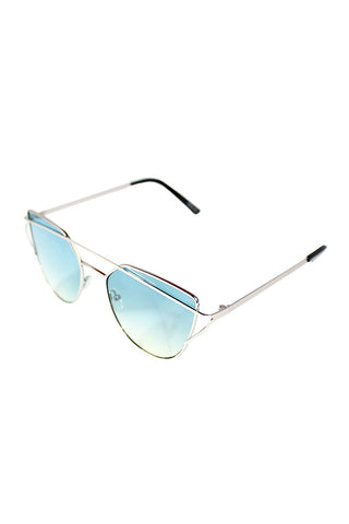 Silver Frame Cat Eye Sunglasses-Blue