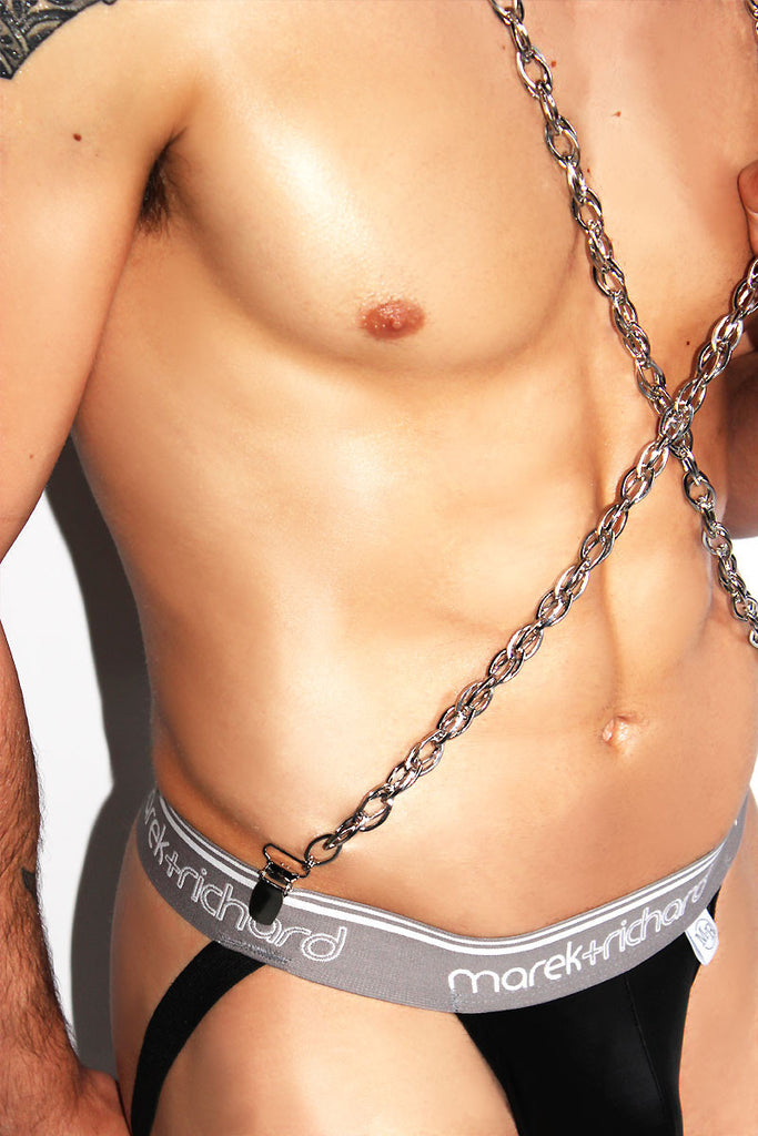 Metal Chain Suspenders Harness-Silver