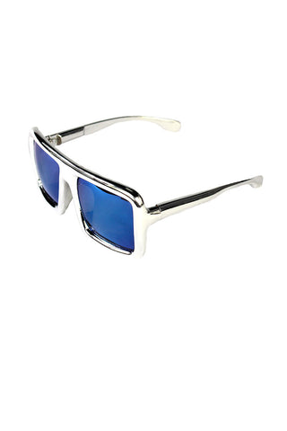 Square Oversized Large Sunglasses- Silver