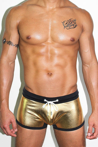 Metallic Trunk Swimsuit- Gold