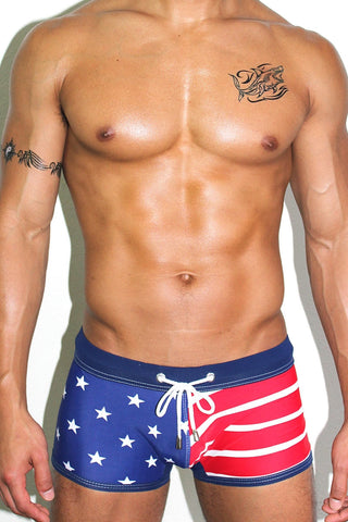 Stars N' Stripes Trunk Swimsuit- Navy