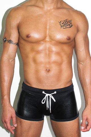 Stretch Vegan Leather Trunk Swimsuit- Black