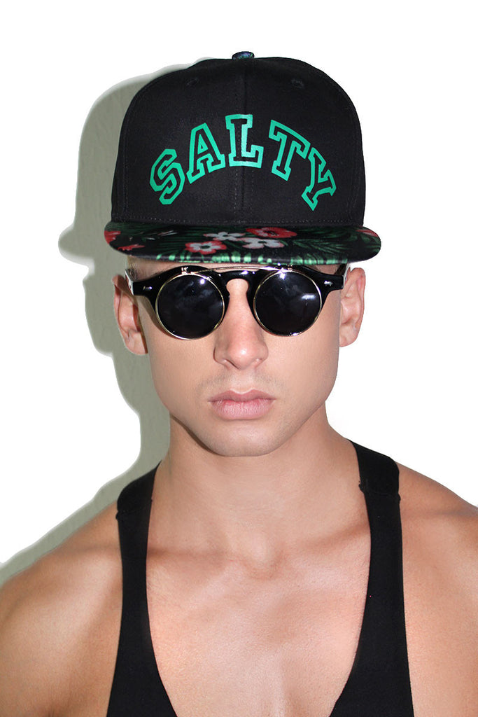 Salty Floral Snap Back Hat- Black