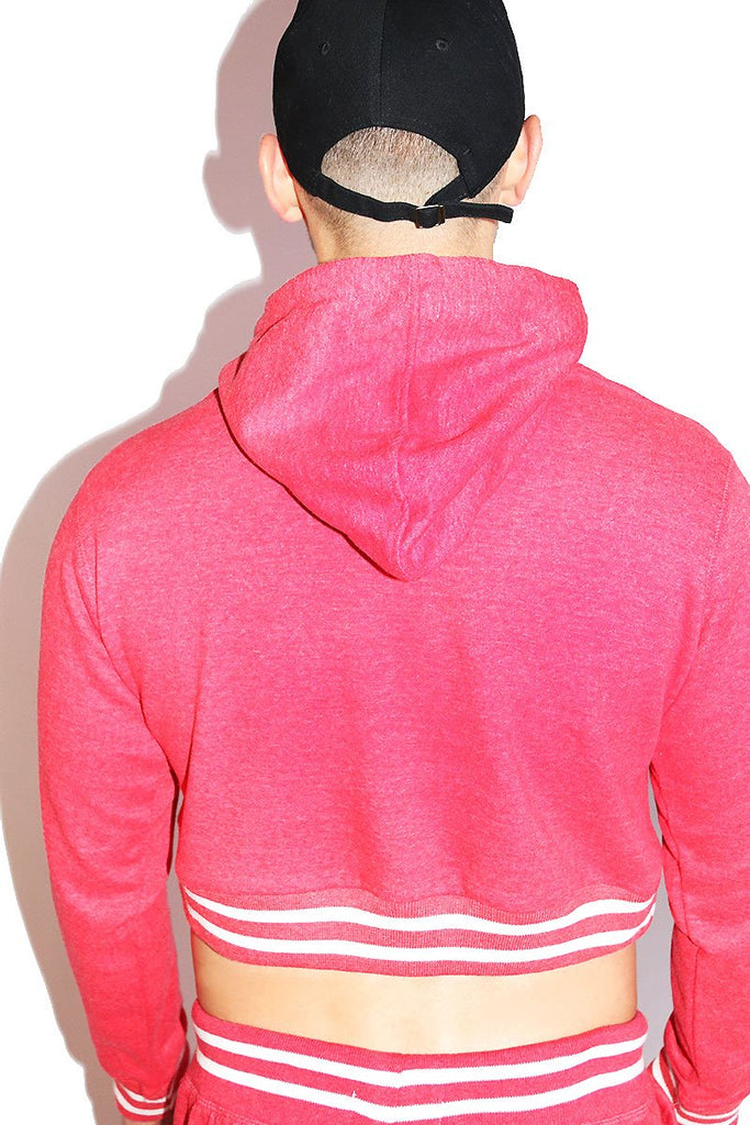 Santa Daddy Stripe Crop Hoodie-Red