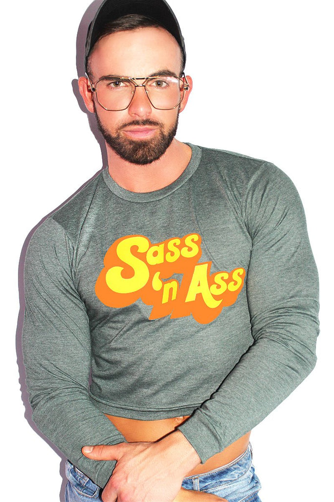 Sass N Ass Long Sleeve Crop Tee-Green