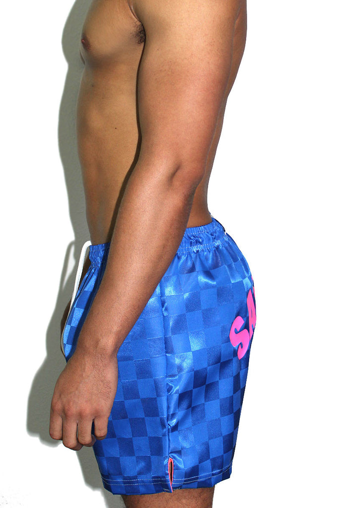 Sass Hole Athletic Shorts-Blue