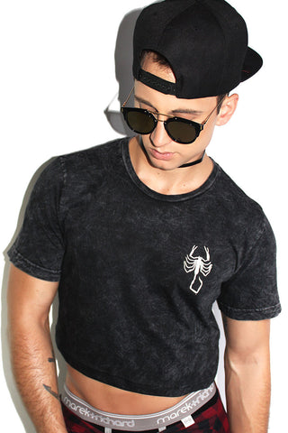 Scorpion Patch Acid Wash Crop Tee-Black