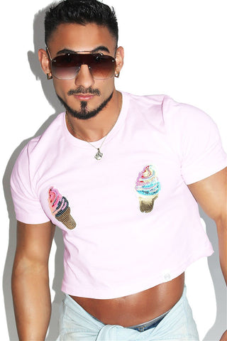 Ice Cream Pasites Crop Tee-Pink