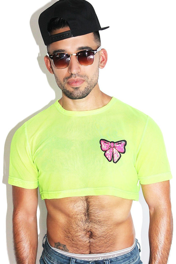 Sequin Bow Mesh Extreme Crop Tee- Yellow