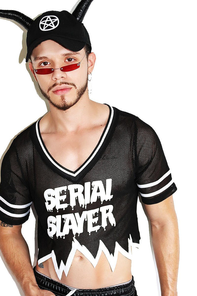 Serial Slayer Mesh Football Crop Tee-Black