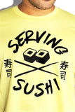 Serving Sushi Crop Tee-Yellow