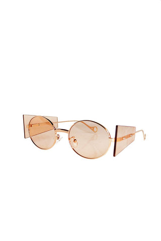 Geometic Shapes Frameless Sunglasses- Bronze