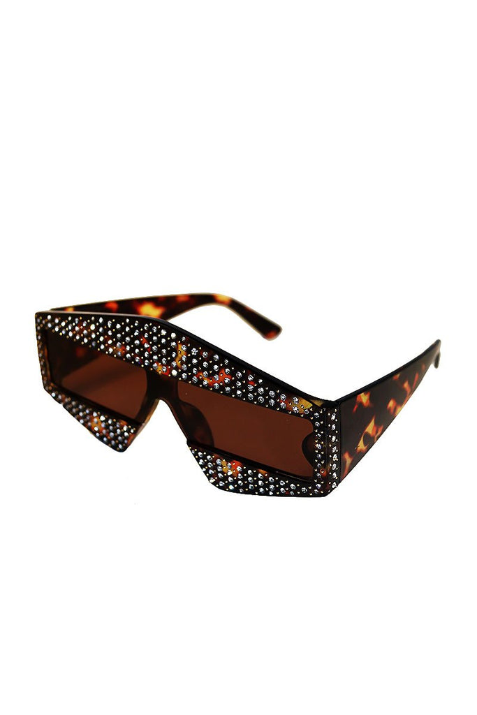 3D Modern Cinema Rhinestone Sunglasses-Black