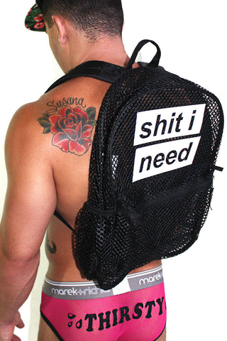 """Shit I Need"" Mesh Backpack- Black"