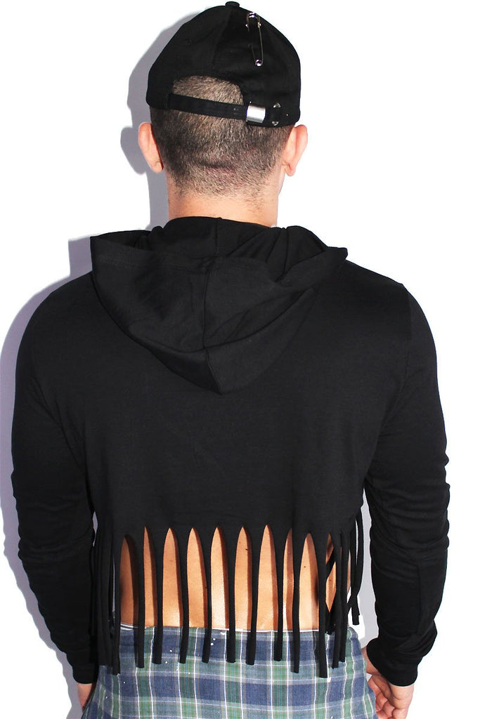 Shredded Fringe Crop  Long Sleeve Hoodie-Black