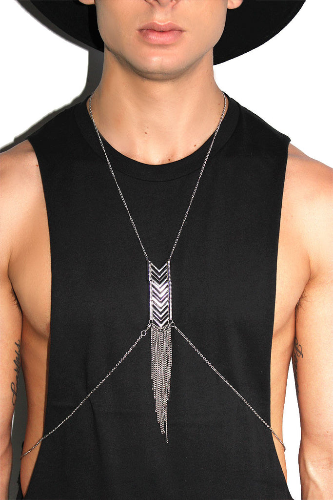 Chevron Thin Chain Harness-Silver