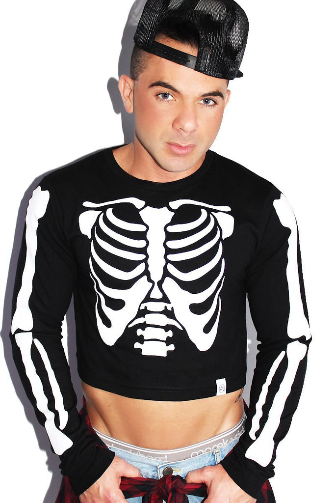 Skeleton Bones Long Sleeve Crop Tee-Black