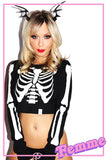 Rib Cage Fitted Long Sleeve Crop Tee-Black