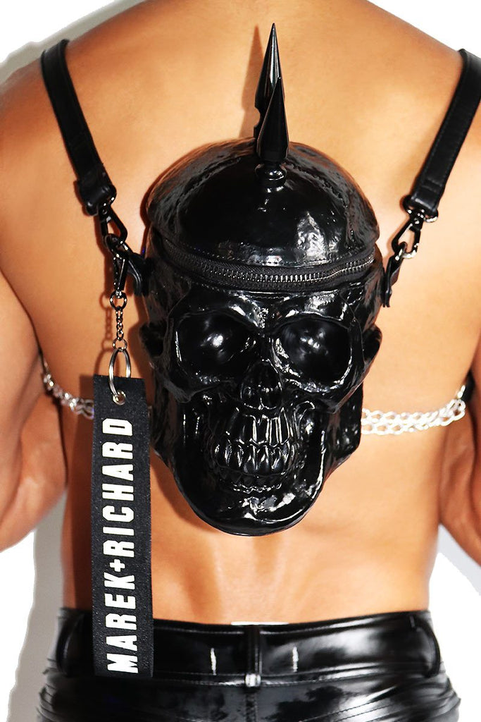Road Warrior Skull Backpack-Black