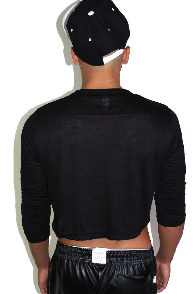 Skull Pasties Long Sleeve Crop Tee-Black