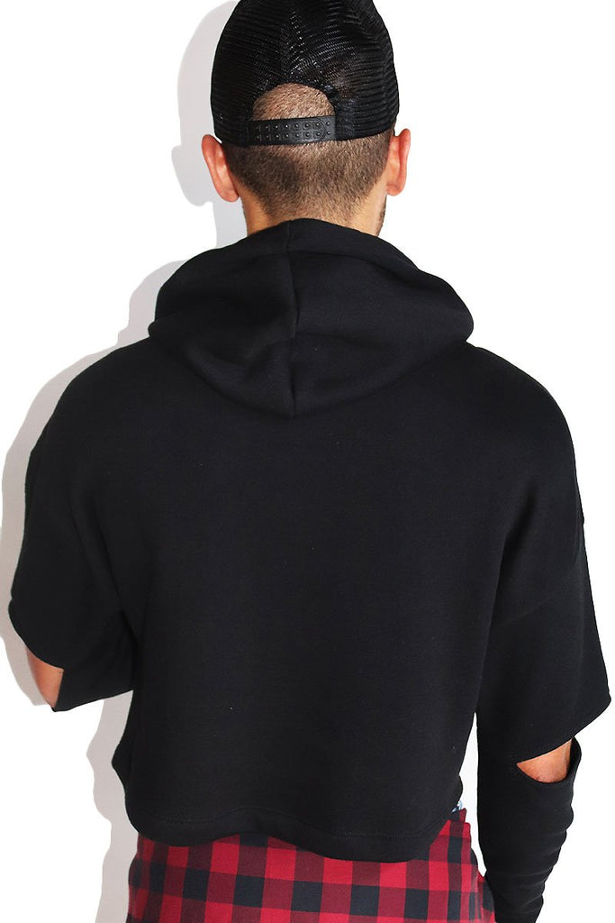 Rudolph Skull Floating Sleeve Crop Hoodie- Black